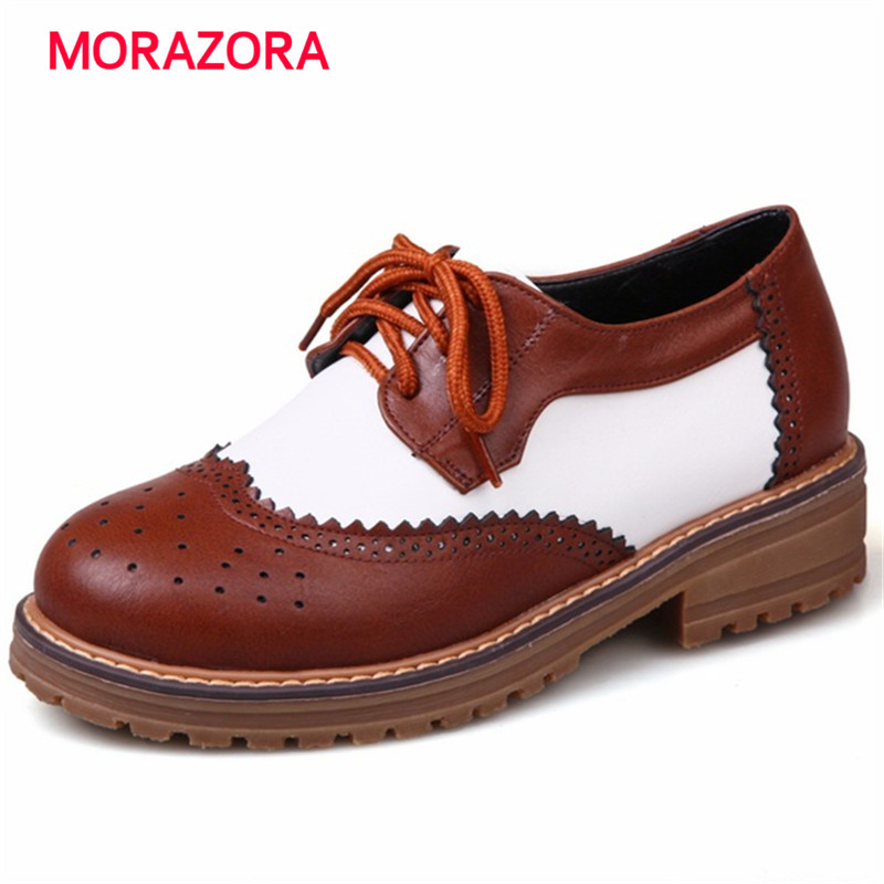 MORAZORA Brogue shoes single mixed colors flats platform oxford shoes lace-up big size 34-43 four seasons women <br><br>Aliexpress