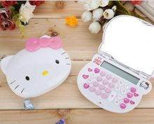 Sanrio Hello Kitty Cartoon Folding 2in1 makeup mirror Calculator Portable KT white Girl Dual power solar power + AA battery
