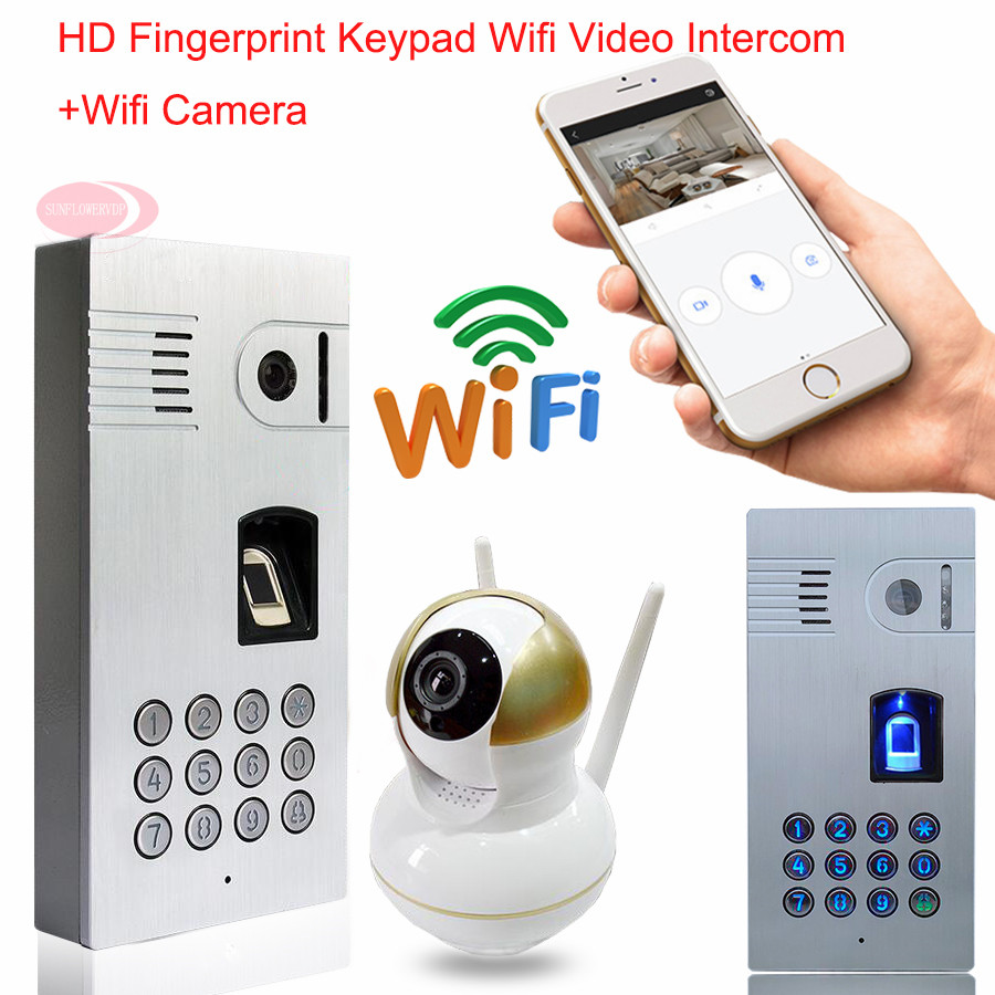 Wifi Video Door Phone Intercom Wireless Network Fingerprint Code Keypad Video Intercom Waterproof IP66 Doorbell Android IOS