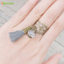 "8SEASONS New Fashion Adjustable Rings Antique Bronze Wtih Clear Faceted Bead Cotton Gray Tassel 16.7mm( 5/8"") US 6.25, 1 Piece"