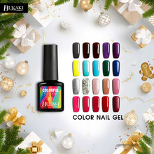 BUKAKI Christmas Nail Polish Manicure Nail Art Tips French Color UV LED Gel Lacquer Paint Gel Ink UV Gel Varnish Lucky Gift(China)