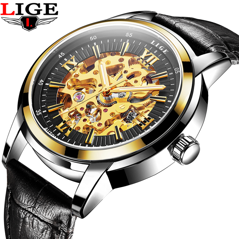 LIGE Hollow Skeleton Automatic Mechanical Mens Watch Man Classic Leather Business Men WristWatches Male Sport Clock Reloj Hombre<br>