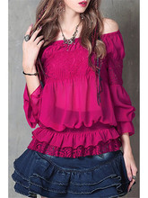Off Shoulder Frilled Chiffon Blouse Casual Loose Patchwork Slash Neck Crochet Shirts Puff Sleeve Ruffled Autumn Blouse(China)