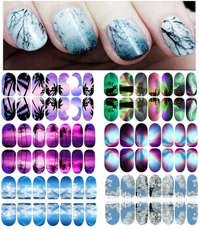 New Products 2016 Scenery Series Glow in dark Nail Art Sticker Hills and Waters Nail Patch Decals FREE SHIPPING<br><br>Aliexpress