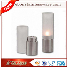 2pcs/set Stainless Steel &Glass Candlestick Candle Holders Candleholder Set Home Decoration