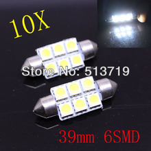 10X 39MM 6 5050 LED Car External Light Dome Festoon Light  Interior Lighting Reading Bulb Auto LED Roof Automobile Light Source