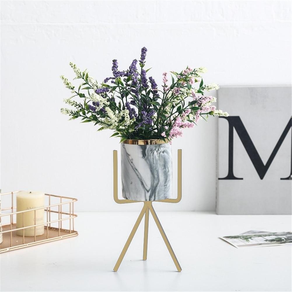 Marble Succulent Plants Flower Pot Wrought Iron Vase Ceramic Set Creative Flower Stand Home Gardening Table Decoration 1