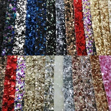 Chunky Glitter Leather Synthetic Leather Faux Leather Fabric Glitter Leather with Colors Glitter For Sewing DIY P434(China)