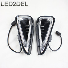 High quality White LED Daytime Running Fog Lights Lamp DRL For Toyota Camry 2015 2016(China)