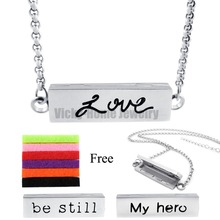 Buy Chains Gift!! 35MM*10MM Silver Love Stainless Steel Essential Oils Aromatherapy Locket Perfume Aromatherapy Necklace Bracelet for $4.27 in AliExpress store