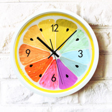 2016 NEW pastoral fresh fruit wall clock,colorful lemon orange quartz wall watch,creative fruit home decorations(China)