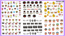 6 PACK/ LOT WATER DECAL NAIL ART NAIL TRANSFER STICKER CARTOON MONKEY DUCK PENGUIN DIAMOND YU144-149