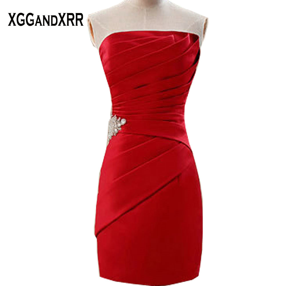 New Arrival Red Satin Mini Sheath Cocktail Dresses 2018 Strapless Beaded  Zipper Back Off Shoulder Special e457b3740014