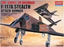 "ACADEMY 12475 / 2107 1/72 Scale The ""GHOST"" of Baghdad F-117A Stealth Attack-Bomber Plastic Model Building Kit"