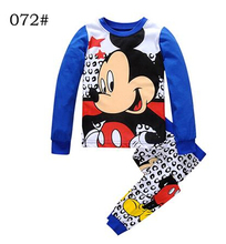 Top quality  Autumn Children Long Sleeve + Pant Hello Kitty Pajamas Pattern Cartoon Cotton children Quality Mickey Sleepwear Set