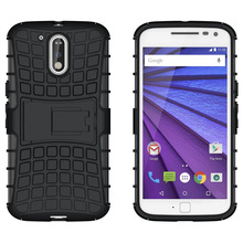 non slip small square block all around protection drop resistant  black soft armor kickstand turtle shell case for Moto G4 plus
