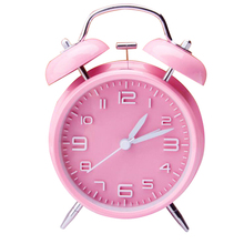 "Color Pink  4"" Twin Bell Alarm Clock With Stereoscopic Dial, Backlight, Battery Operated Loud Alarm Clock  460658"