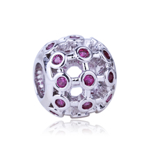 High Quality 6 Color Hollow Ball Charm Silver Plated Bead Cubic Zircon Beads DIY Jewelry Fit Pandora Charms Bracelet