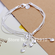 Free Shipping 925 Sterling Silver Bracelet Can Custom Hand Made Bracelet Wholesale Fashion Jewelry H067(China)