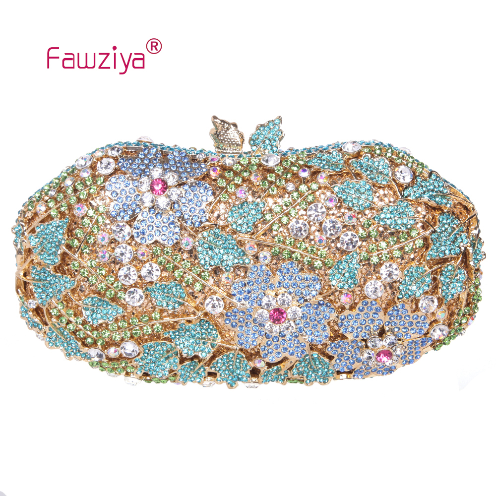 Fawziya Luxury Brand Bag Flower Leaves Bling Crystal Evening Bags Flower Clutch Bag<br><br>Aliexpress