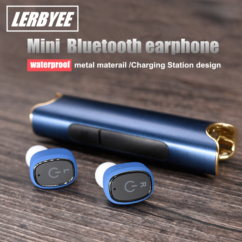 LONGET bluetooth earphone Wireless Waterproof Earbuds with Charging Station Support Handsfree Call  clear loud In ear Headset<br>