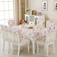 New 150*150cm Flowers Lace Tablecloth Set,13 Pcs/Set Chair Mats Chair Covers and Tablecloths,Tablecloths for weddings Dining(China)