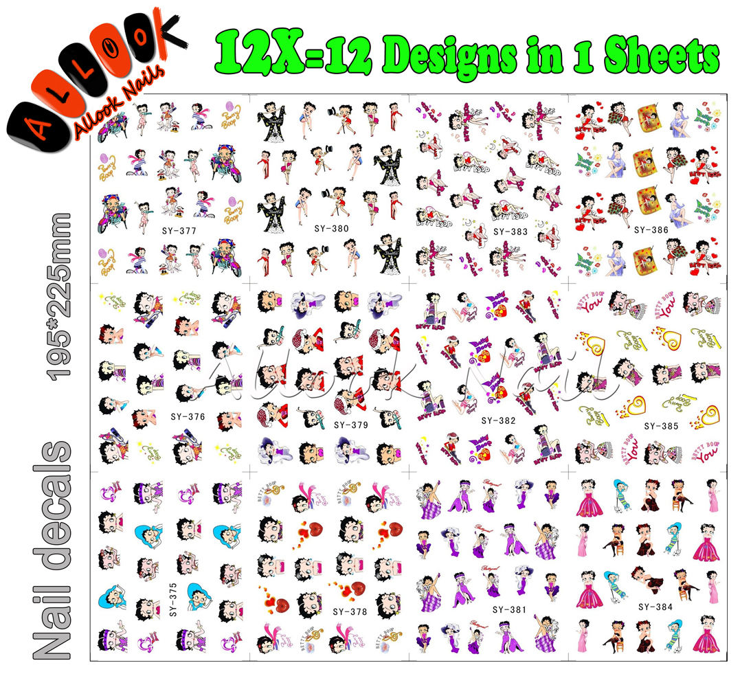 Nail Art(Large Piece SY375-386 12 DESIGNS IN 1) Cartoon Betty Boop Mixed 12 Designs Nail Art Water Sticker Decal for Nail Art<br><br>Aliexpress