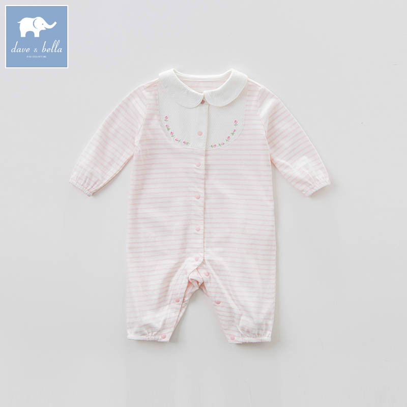 DB7627 dave bella spring new born baby cotton romper infant clothes girls pink cute striped romper baby 1 piece<br>
