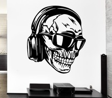 Creative Skull Vinyl Wall Headphones Music Skull Glasses Cool Decor Rock Pop For Bedroom Mural Wall Sticker Home Decoration(China)