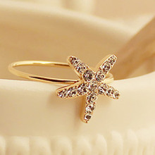 Women's Fashion Exquisite Black Moon Stars Opening Ring female 8RD70(China)