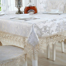 Europe Luxury Embroidered Tablecloth Table Dining Cover Cloth Lace Fabric Flag Chair