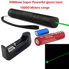 promotion! Flashlight Style Red / green Laser Pointer with 16340 18650 Rechargeable Battery and Charger  10000M Range