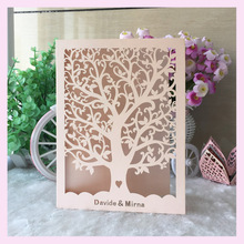 100psc peach color tree Wedding Party decoration Invitation cover Card wishing well card customized name &printing inner  Qj-31