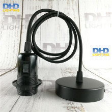 Sample order E27 DIY lamp fixture black knob switch bakelite full threaded socket with 1.1 meter black cable and ceiling plate