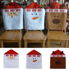 Warm Corner 1PC 3 Type 2016 High Quality Santa Chair Back Covers Snowman Elk Hat Dinner Decor Christmas Gift Free Shipping Nov 4
