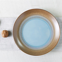1 pair hanging plate flat plate/ blue bottom with brown color side/ China Jingdezhen creative plate