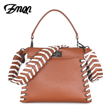 ZMQN High Quality Leather Handbags Small Kitten Bag For Women Kabelka Bolsa Feminina Wide Shoulder Bag Weave Side Solid Sac C606(China)