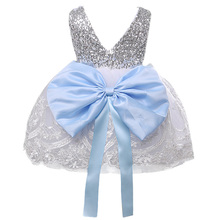2017 Kids Girls Flower Dress Children Girl Sleeveless Birthday Party Butterfly Dress Baby Sequins piano Princess Bow Clothes