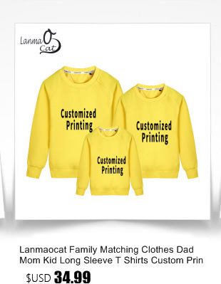 Custom T Shirt Family ALP Lanmaocat Family Matching Clothes Dad Mom Kid Long Sleeve T Shirts Custom  Printed Family Clothes Personal T Shirts Free Shipping