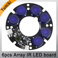 Yumiki New 6 blue&white array LED IR Leds Infrared Board for CCTV cameras night vision (53mm diameter)(China)