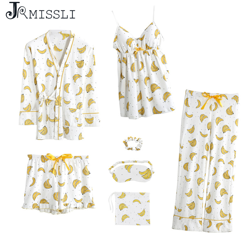 JRMISSLI Cotton 7 Pieces Pajamas Sets Women Pajamas Sleepwear Sets Spring Summer banana Casual Comfortable Womens Homewear