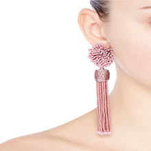 Dongmu jewelry 2017 new bohemian pop pink beaded tassel earrings long ladies fine accessories black friday gift(China)