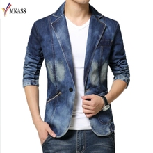 MKASS New Jeans Blazer Men Cotton Cowboy Jacket Denim Jacket Men Blazer Suits For Men Jaqueta Brand-Clothing Fashion M-4XL(China)