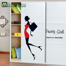 Pretty Girl Fashion Shopping Wall Stickers Bedroom Living Room Cabinet Shop Window Art Mural Home Decor
