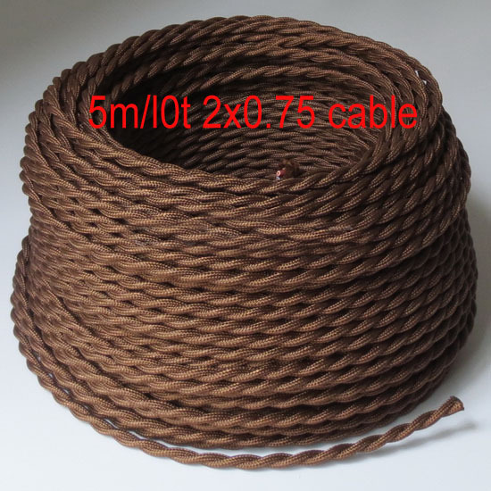 5m/lot 2 wire cable vintage cable 2*0.75 Brown Color Twisted Wire Retro Braided Electrical Wire Fabric wire vintage lamp cord(China (Mainland))