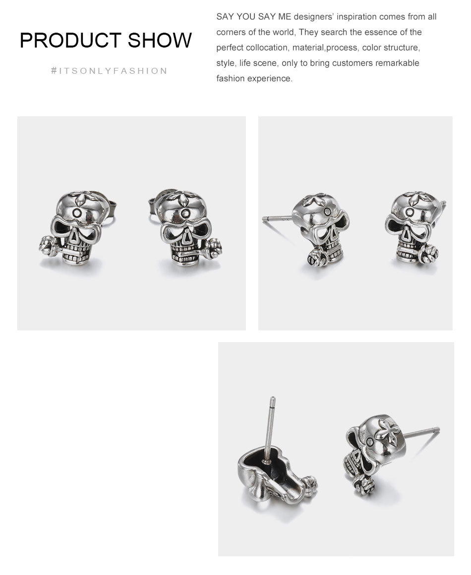 925-Sterling-Silver-Stud-Skull-Earrings-Vintage-Silver-Party-Unisex-Prevent-Allergy-Flower-Earrings-Say-You-T11