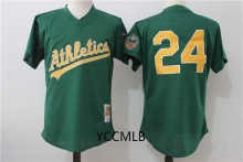 MLB Men's Oakland Athletics 24 Henderson Throwback Stitched Cooperstown Batting Practice Baseball Jersey Free Shipping(China)