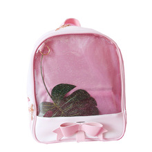 Women backpack Summer Candy Clear Bow Transparent Backpacks PU Leather Solid Color Cute Schoolbags for teenage Girls Ita bag