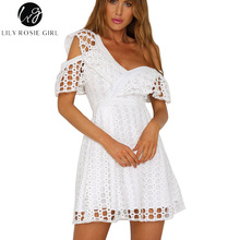 Lily Rosie Girl Sexy Fuffle Short Sleeve Dress Women White Lace Mini Sweet Pink Dresses V-neck Party Beach One Shoulder Vestidos