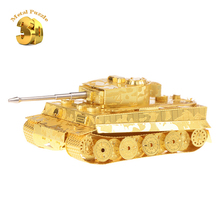 3D Metal Puzzles Miniature Model DIY Jigsaws Building Model Gold  Robot Gift for Kids Tiger Tank of World War II